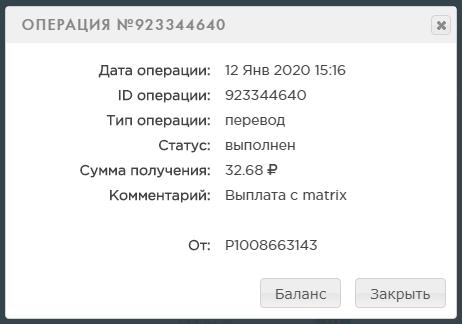 Скрин выплаты с проекта